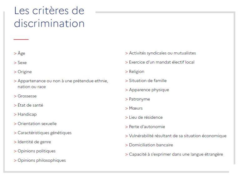 Critères de discrimination - Plateforme anti-discriminations
