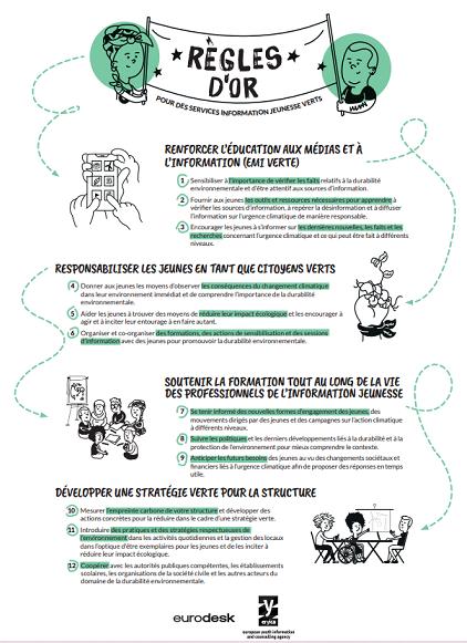 Affiche des règles d'or du guide pour une information jeunesse verte